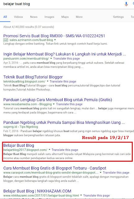 Result SEO Belajar Buat Blog
