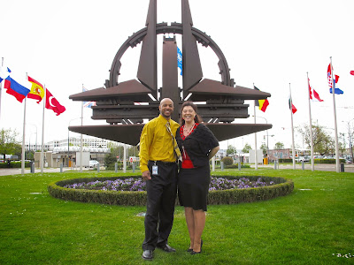 Kelli and I at the Death Star, aka NATO Compass