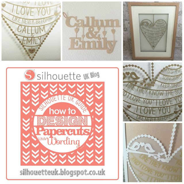 A two part tutorial on typography papercuts.  First one is a guide to various methods and the second is a step by step tutorial to make bunting style papercuts.  Tutorials by Nadine uir for SIlhouette UK Blog