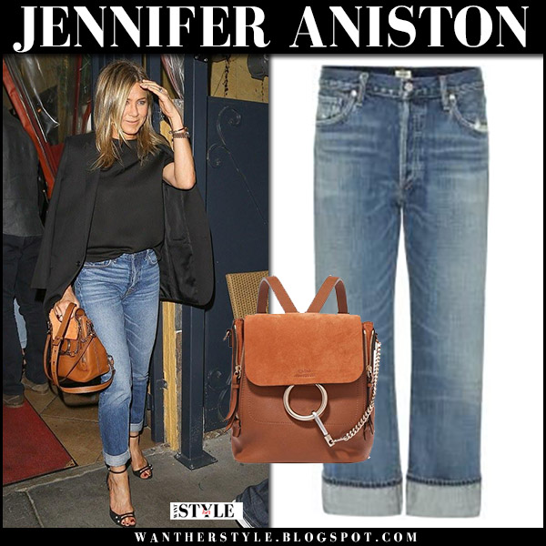 Jennifer Aniston in black jacket, cropped jeans citizens of humanity with brown leather bag chloe faye street fashion october 22 2017
