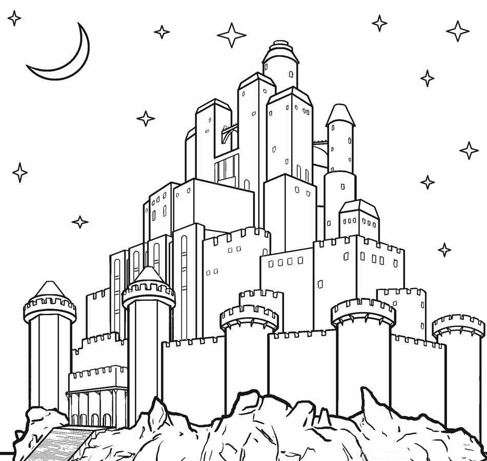 Desenhos De Castelo Na Noite Para Colorir E Imprimir