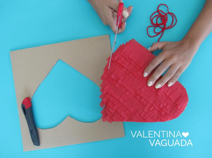 Valentina Vaguada: pinata, heart, valentines day, diy, red