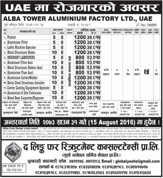Jobs For Nepali In U.A.E. Salary -Rs.34,815/