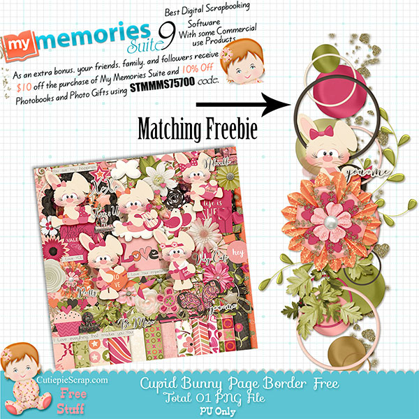 Cupid Bunny Valentine Digital Scrapbooking Kit + Cupid Bunny Page Border Freebie