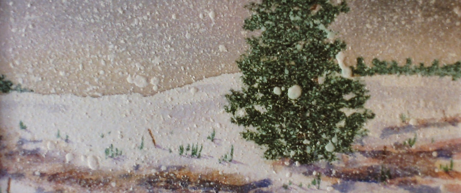 Snowfall, near Braemar, Aberdeenshire, Scotland  16x40 inches. Watercolor on paper, c. 1989.  In a private collection in Braemar, Scotland by F Lennox Campello