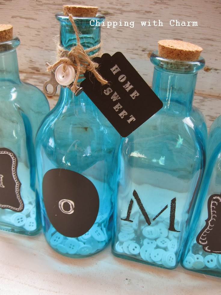 Chipping with Charm:  Blue Bottle Pinterest Party Project...http://www.chippingwithcharm.blogspot.com/