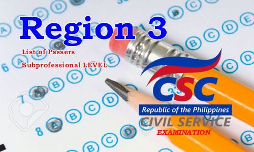 List of Passers Region 3 August 2017 CSE-PPT Subprofessional Level