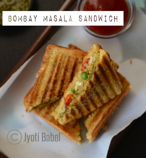 Bombay Masala Sandwich Recipe | A very popular roadside snack from the city of Mumbai, India. www.jyotibabel.com. Check the recipe to know how to make Bombay Masala Sandwich