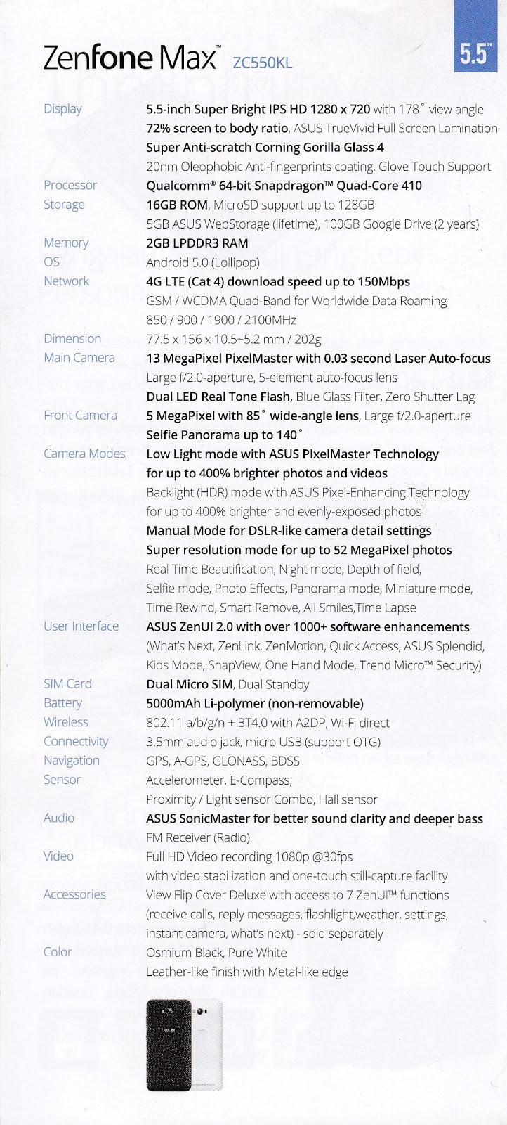 Spesifikasi Handphone ASUS Zenfone Max