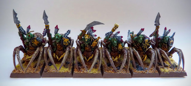 A painting update for Forest Goblin Spider Riders from Warhammer Fantasy Battle