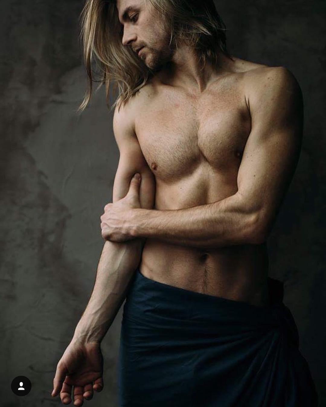 male model, Svyatoslav Boyko, ukrainian, underwear, black and white, handsome guys, shirtless, face hair, outdoor