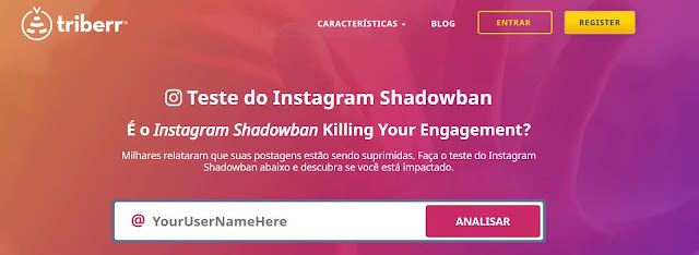 Usar site Triberr mostra Shadowban