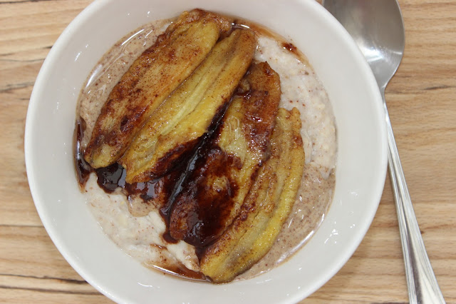 Presley porridge peanut butter with caramelised banana