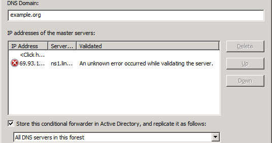 An error occured while validating