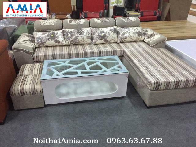 HÌnh ảnh cho mẫu sofa nỉ với thiết kế dạng chữ L đẹp hiện đại kết hợp với bàn trà đẹp hiện địa