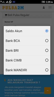 Pembayaran Bank Pulsa Online