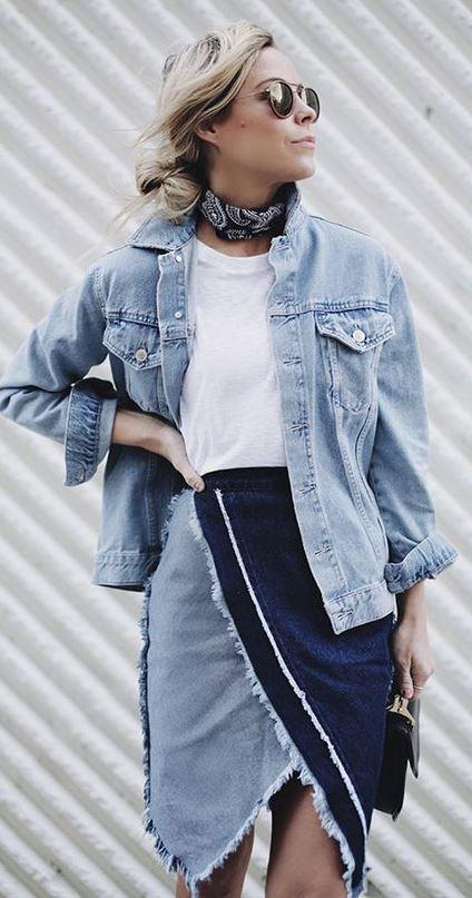 denim on denim_jacket + skirt + white t-shirt + bag