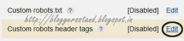 Add Custom Robots Header Tags Settings in Blogger