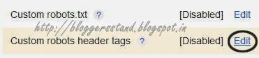 Add Custom Robots Header Tags Settings in Blogger