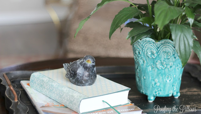 summer vignette, coffee table vignette, summer home tour