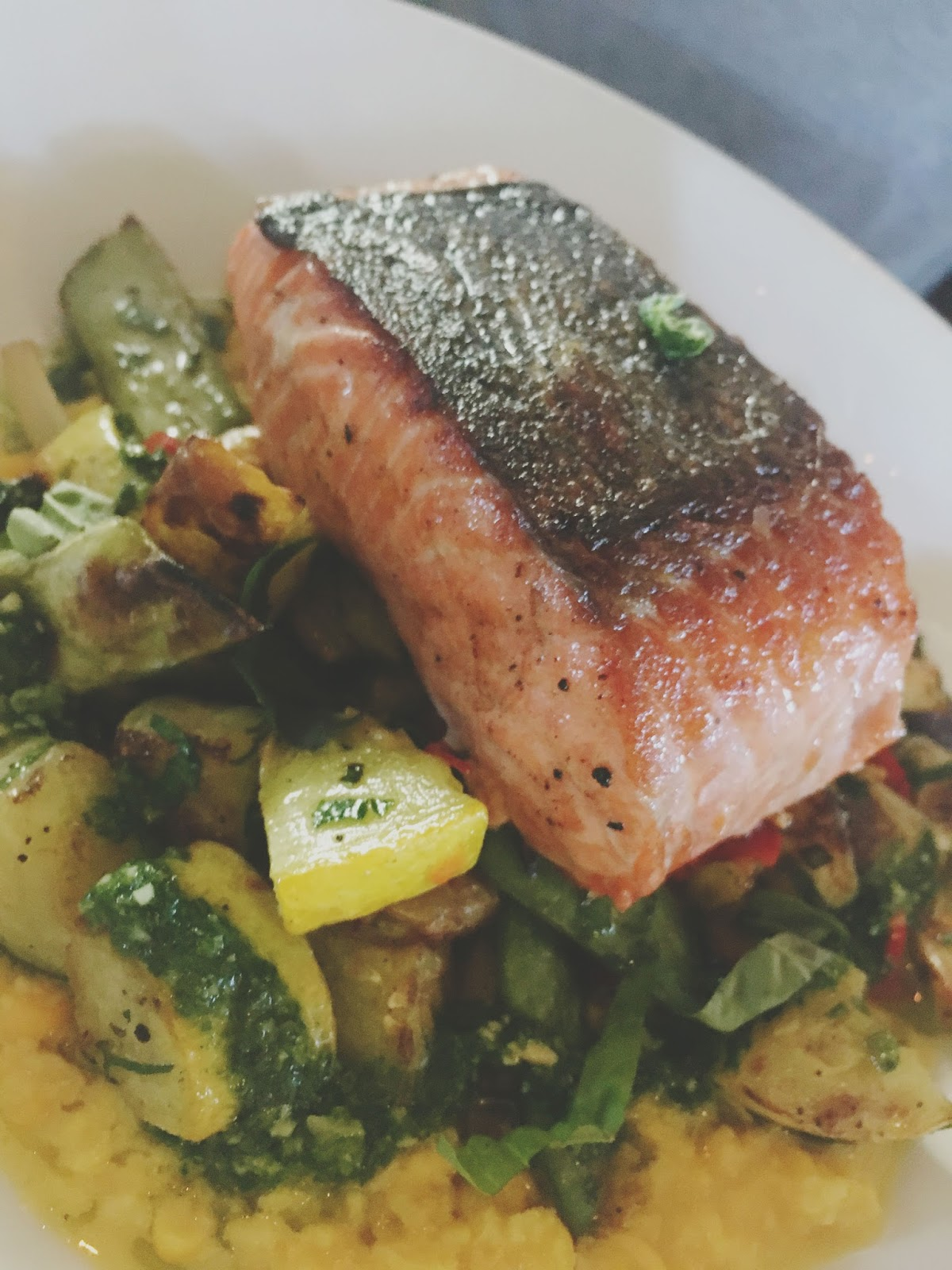 salmon at the Farmstead Restaurant at Long Meadow Ranch in Napa, California