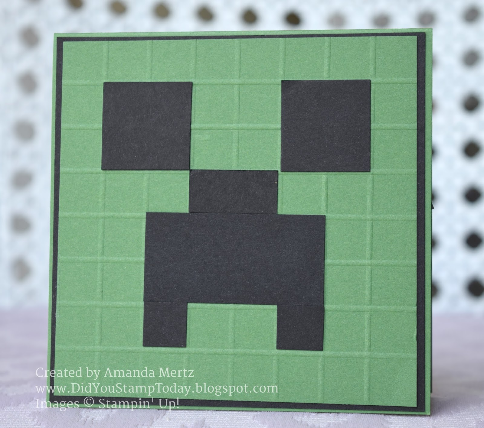 Did you stamp today beware of the creeper minecraft birthday card i started with a garden green card base and i made it square of course then a layer of basic black i took a slightly small square in garden green and used bookmarktalkfo Gallery