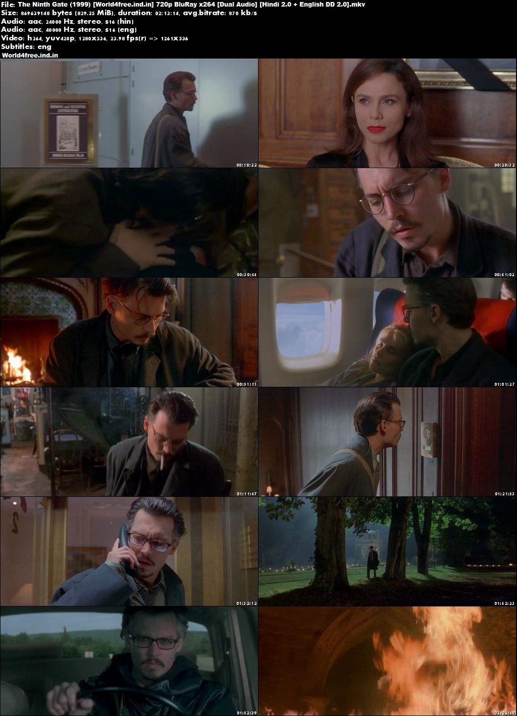 The Ninth Gate 1999 world4freeus Hindi English BRRip 720p Dual Audio