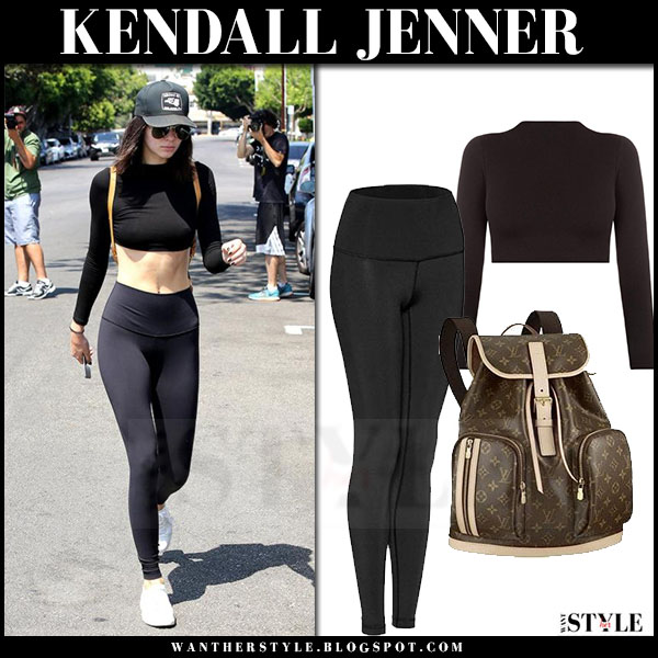 Kendall Jenner in black crop top and black leggings what she wore models off duty
