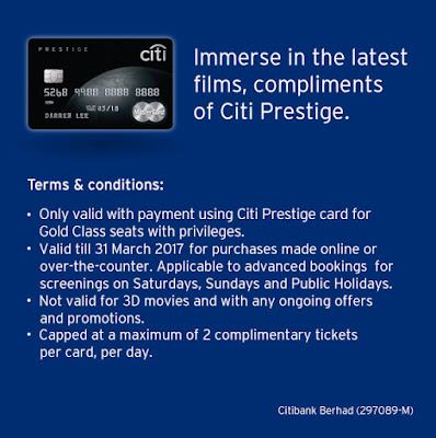 GSC Gold Class Movie Ticket Citi Prestige Card Malaysia Promo