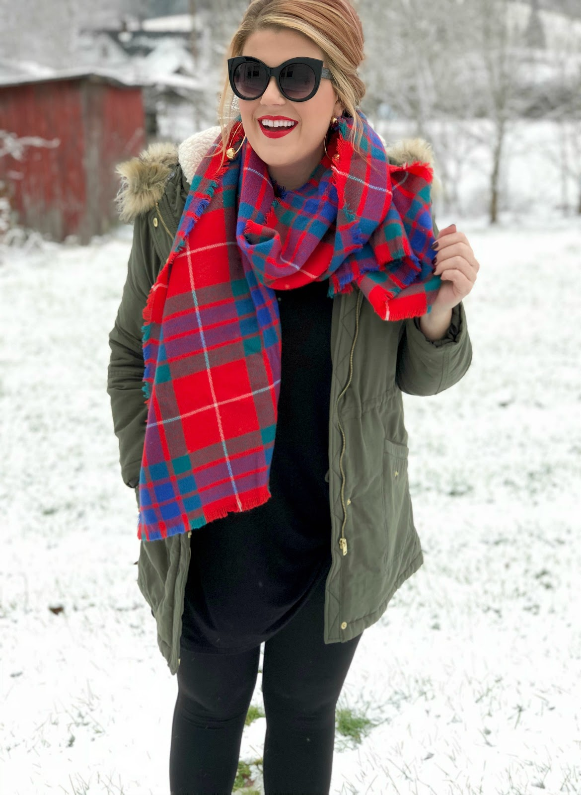 Red plaid scarf, green parka with fur