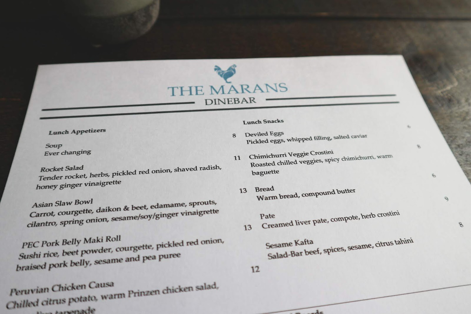The Marans Dinebar in Prince Edward County - Picton
