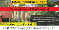 Indian Agricultural Statistics Research Institute Recruitment 2017– 16 IT Professional