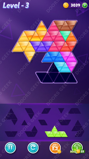 Block! Triangle Puzzle 12 Mania Level 3 Solution, Cheats, Walkthrough for Android, iPhone, iPad and iPod