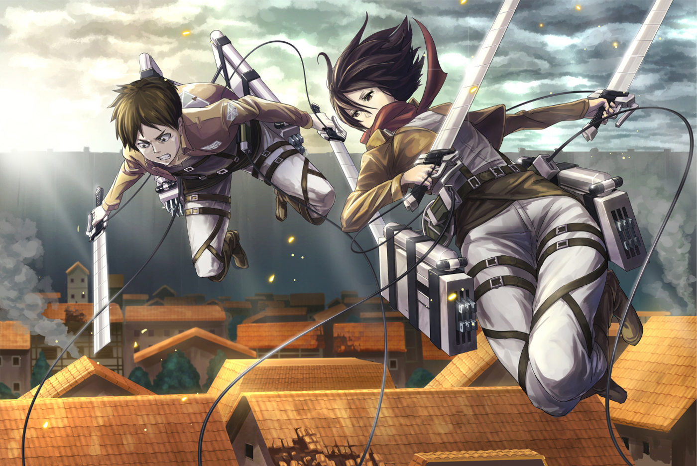 Hd Wallpaper Mikasa Eren 3d Maneuver 0809