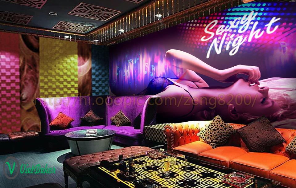 Tranh dán tường 3d phòng karaoke