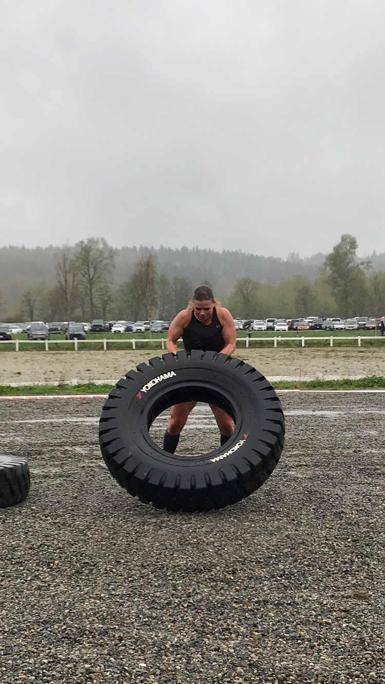 Seattle Spartan Super Race, Spartan Elite Racer, Spartan Women, Yokohama Tire Flip Obstacle