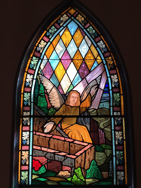 Angel in stained glass window - Stittsville United Church