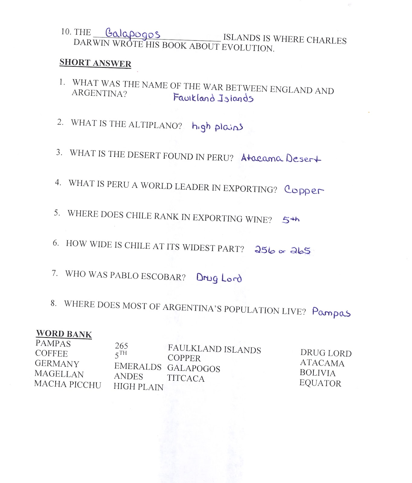 Mr E S World Geography Page Chapter 11