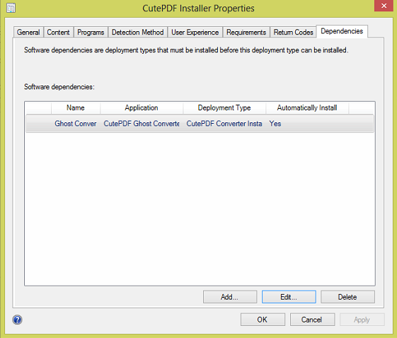 CutePDF Writer and GPL Ghostscript install using the SCCM Software Catalog 3