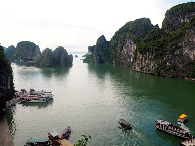 Boats in Halong Bay, taken from the Surprise Cave, Vietnam