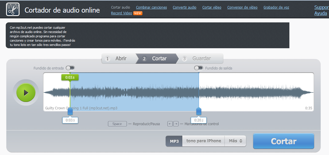 UtilPAGE: MP3Cut.net: Cortador De MP3 Online