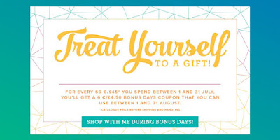 Treat Yourself during Bonus Days Stampin' Up! Promotion in July 2017 Order Craft Supplies Online from Mitosu Crafts