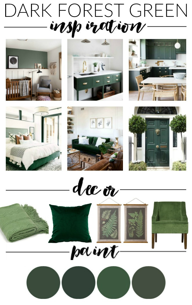 Dark green paint colors, inspiration and decor
