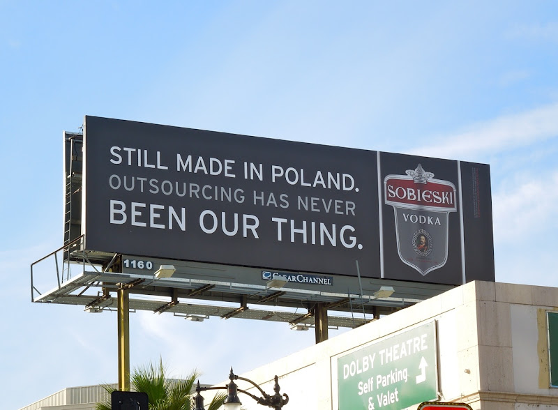 Sobieski Vodka Still made in Poland billboard