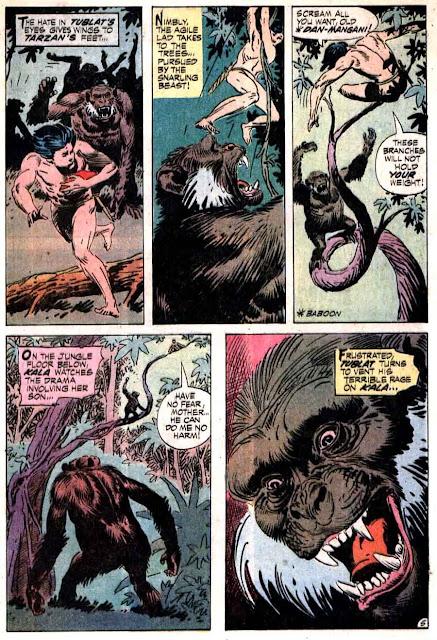 Tarzan v1 #208 dc comic book page art by Joe Kubert