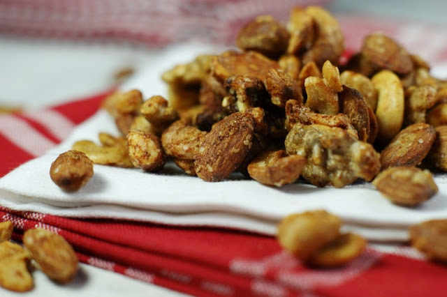 BBQ Roasted Mixed Nuts Recipe by Tracey at The Kitchen is my Playground