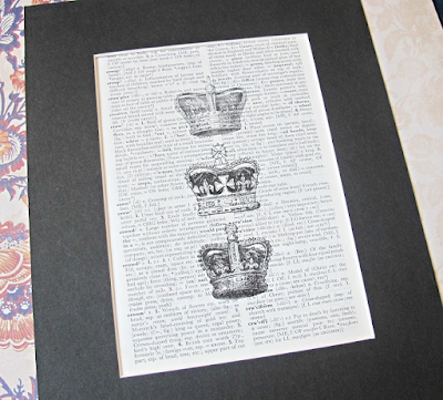 dictionary page art print vintage crowns tiara royalty homewares wall art domum vindemia