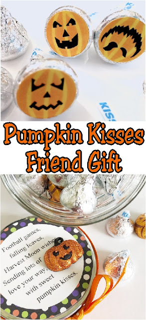 Send your love to your ministering friends, your kids, or your neighbors with this Pumpkin Kisses Halloween gift.  With a few treats and a little love, you'll be giving this candy jar in no time at all. #pumpkinkisses #bagtopper #halloweentag #friendgift #diypartymomblog