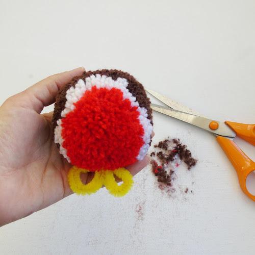 trimming handmade pom pom
