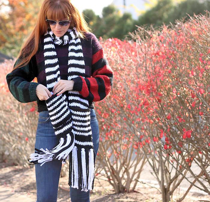 Kate Spade Chunky Stripe Pocket Scarf Knitting Pattern - Gina Michele